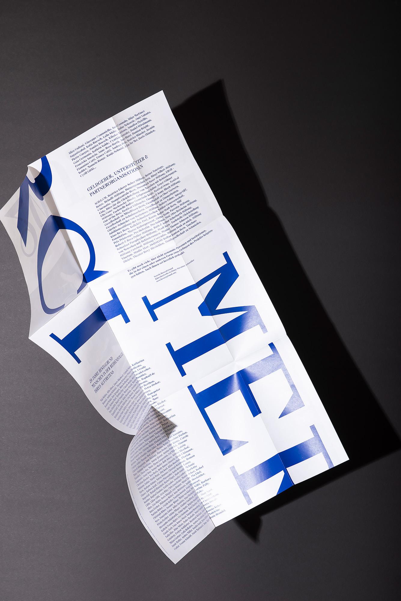 Melanie Brandel, Grafik, Bern, Solothurn, Beweggrund, Tanz, Plakatgestaltung, Flyergestaltung, Jubiläum 20 Jahre Beweggrund