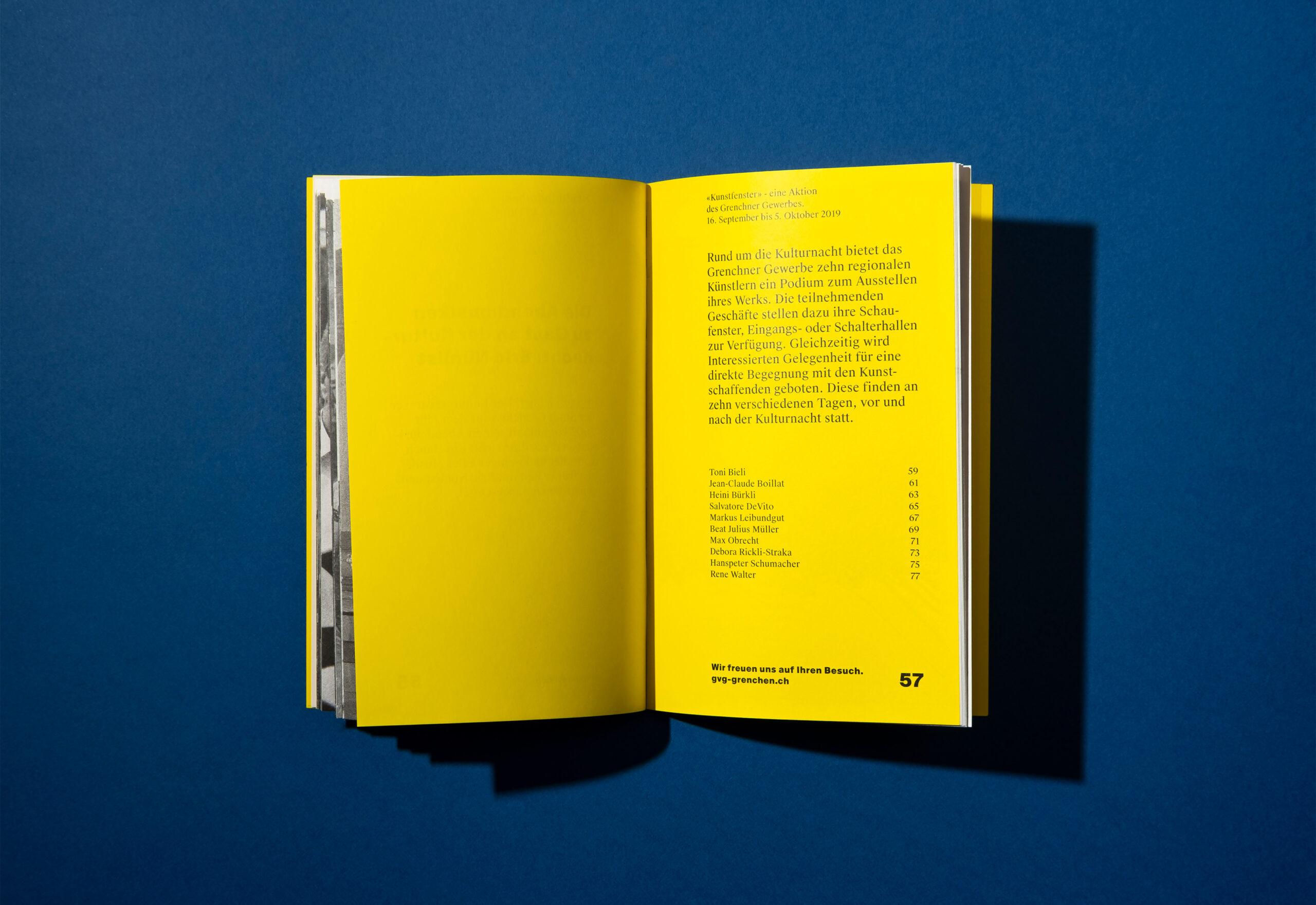 Melanie Brandel, Grafikdesign Solothurn, Bern, Branding für die Kulturnacht Grenchen, Illustration, Programmheft, Webdesign, Merchandise, Flyer
